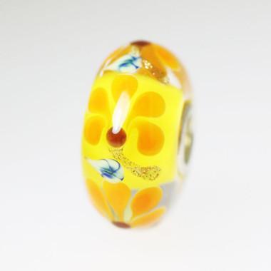 Yellow  Bead With Orange Flowers