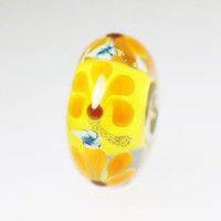 Yellow  Bead With Orange Flowers