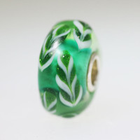 Green Feather Unique Bead