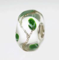Green Leaf Glitter Vine Unique Bead