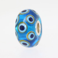 Blue Unique Bead With Circles