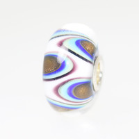 White Opaque Bead With Circles