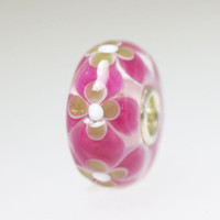 Pink Unique Bead With Glitter Flowers