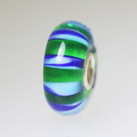 Green Bead With Blue Stripes