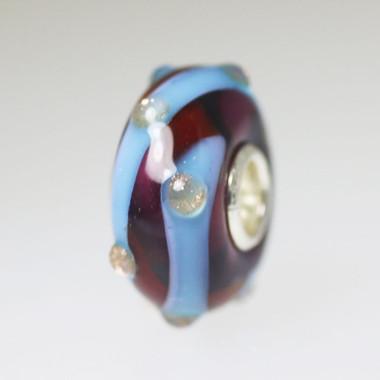 Dark Red & Blue Unique Bead