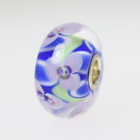 Lavender Flowers On a Blue Bead