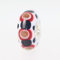 Opaque White Bead With Black, Glitter & Red