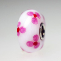 Opaque White Bead With Pink Flowers