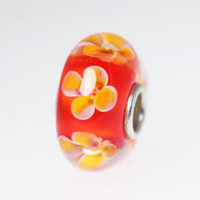 Red Flower Unique Bead