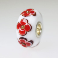 White Opaque Bead With Red Flowers