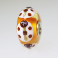Orange Base Bead With White Ladybugs