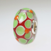 Red Base Bead with Green Flowers