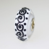 White Bead With Black Scroll