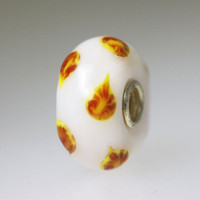 White Bead with Sprigs
