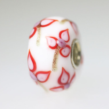 Opaque White Bead With Red Flowers