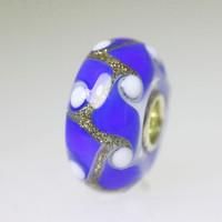 Blue and Glitter Unique Bead