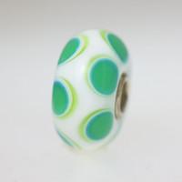 Opaque White Bead With Aqua Circles