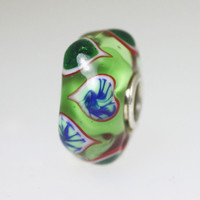 Green Unique Bead With Hearts