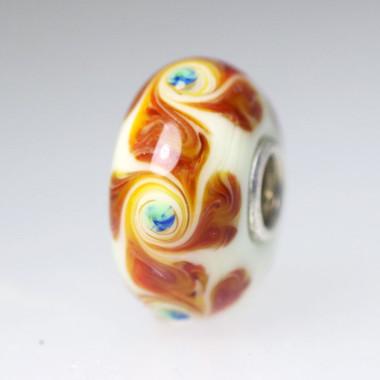 White Opaque Bead With Rust Tones