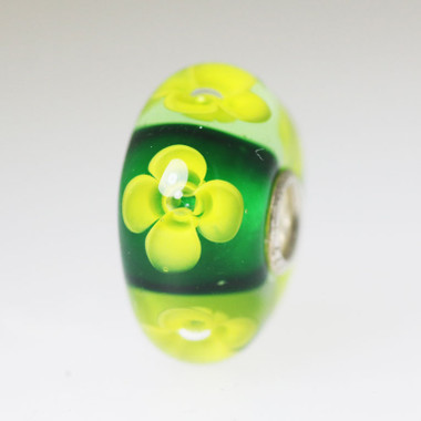 Yellow Flowers On Green Bead