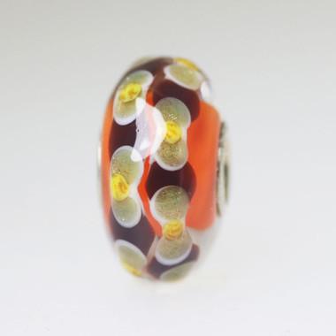 Coral & Glitter Unique Bead