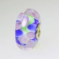 Lavender Flowers On Blue Bead