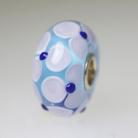 Blue Bead With Lavender Flowers