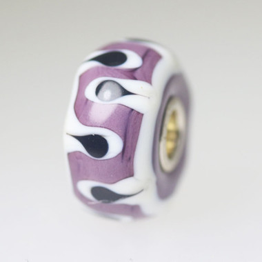 Mauve and White Unique Bead