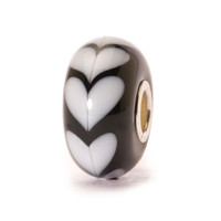 White Heart Glass Trollbeads