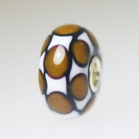 Opaque Brown & White Unique Bead