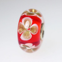 Red Bead With Glitter Flowers