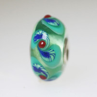 Aqua Swirl Glass Unique Bead