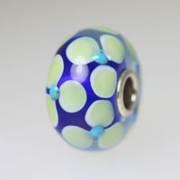 Blue Based Flower Bead