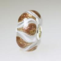 Glitter and White Unique Bead