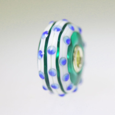 Green Bead With Blue Dots