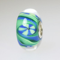 Blue Green Swirl  Bead