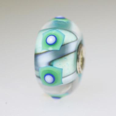 Aqua Bead With Squares