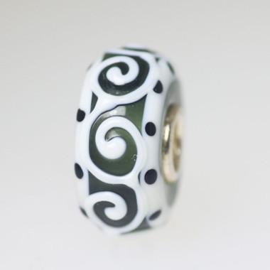 White Scroll Unique Bead