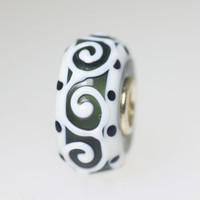 White Scroll Unique Bead