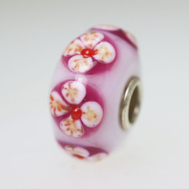 Pink Flowers on White Bead