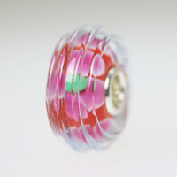 Red Pink Ridges Bead