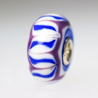 Opaque White Bead With Purple & Blue