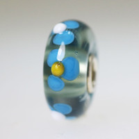 Aqua Flowers On Grey Base Bead