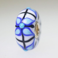 White Opaque Bead With Blue Designs