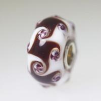 Brown & White Harlequin Unique Bead