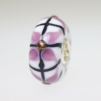 Opaque White Bead Lavender Design