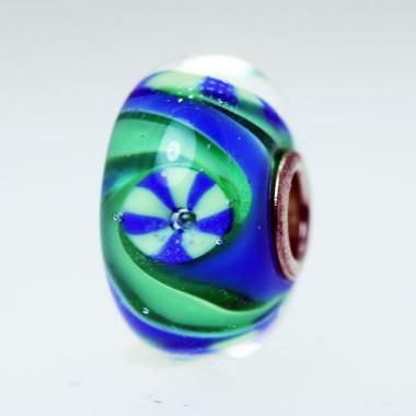 Blue Green Swirl Bead