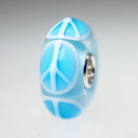 Light Aqua Peace Sign Bead