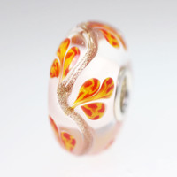 Orange Glitter Vine Bead