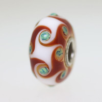 White & Red Harlequin Bead